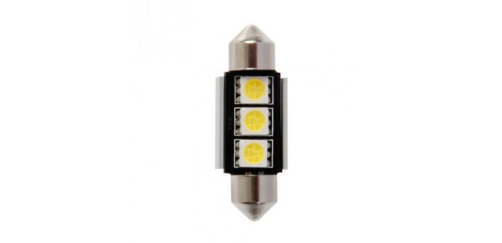 Lampade a siliro 9 - 3 SMD x 3 chips - (C5W) - 10x36 mm - Bianco - Doppia polarità - Resistenza incorporata