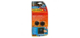 Led-Disks 12V, coppia dischi luminosi a 12 Led - Blu