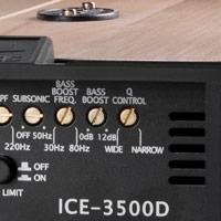 Morsettiere e controlli dell'amplificatore SPL Dynamics 3500D